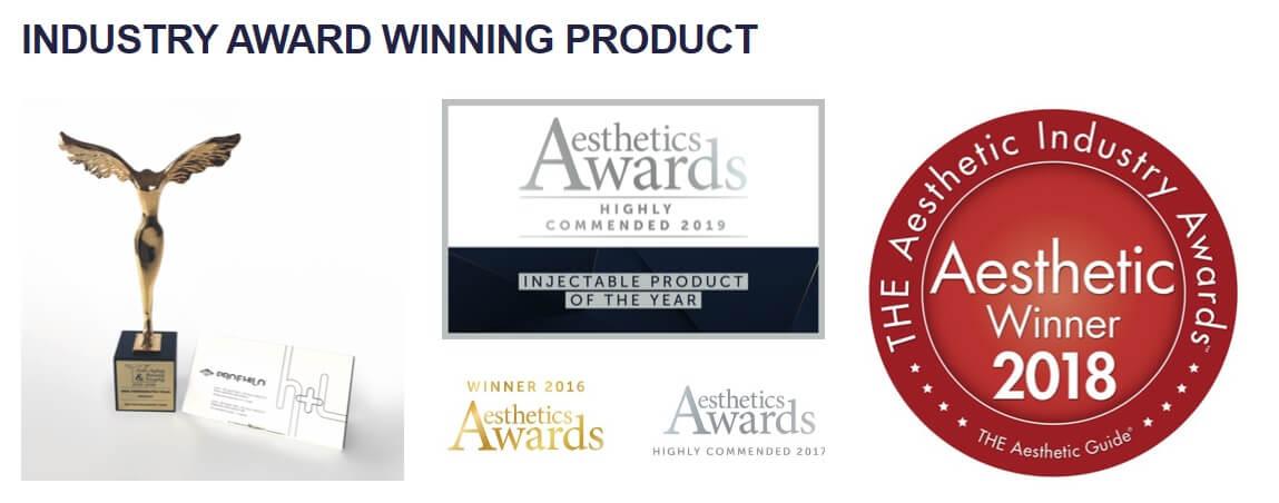 Aesthetics Awards logo for Profhilo winning product
